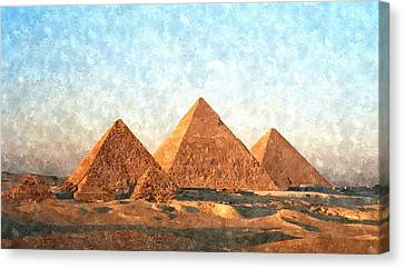 Ancient Egypt The Pyramids At Giza Canvas Print by Gianfranco Weiss