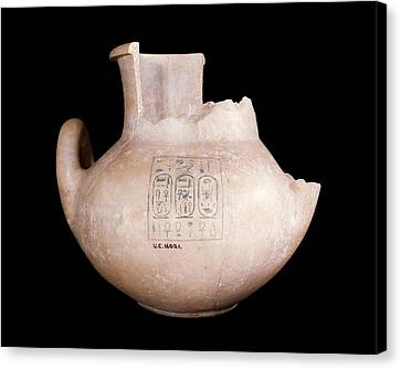 Ancient Egyptian Stone Jar Canvas Print by Petrie Museum Of Egyptian Archaeology, Ucl