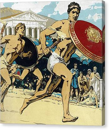 Ancient Olympic Games  The Relay Race Canvas Print by Unknown