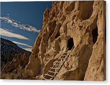 Ancient Pueblo, Reconstructed Ladder Canvas Print by Michel Hersen