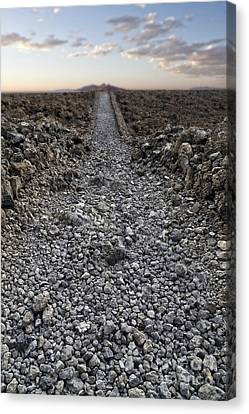Ancient Rocky Road Leading To The Horizon. Canvas Print by Edward Fielding