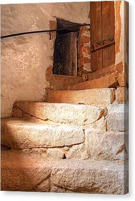Ancient Steps To The Attic Canvas Print by Gill Billington