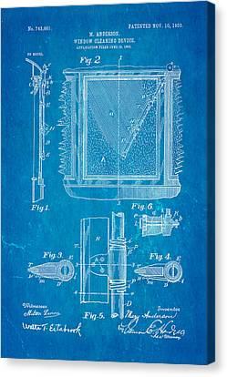 Anderson Windshield Wiper Patent Art 1903 Blueprint Canvas Print by Ian Monk