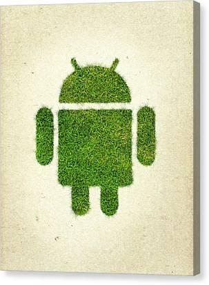 Andoird Grass Logo Canvas Print by Aged Pixel