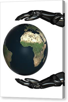 Android Hands Keep Earth Globe Safe On White Background Canvas Print by Nenad Cerovic