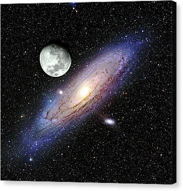 Andromeda Galaxy And Moon Canvas Print by Adam Block/mount Lemmon Skycenter/university Of Arizona