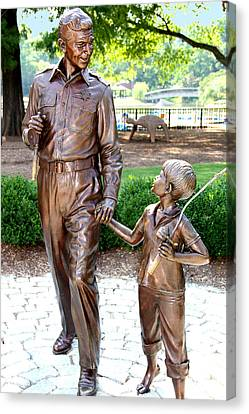 Andy And Opie Statue Nc Canvas Print by Frank Savarese