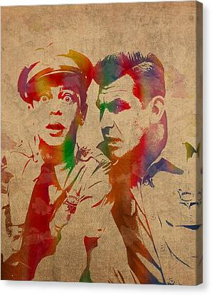 Andy Griffith Don Knotts Barney Fife Of Mayberry Watercolor Portrait On Worn Distressed Canvas Canvas Print by Design Turnpike