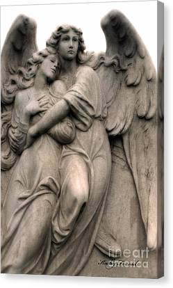 Angel Photography Guardian Angels Loving Embrace Canvas Print by Kathy Fornal