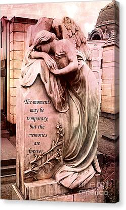 Angel Art - Memorial Angel Weeping Sorrow At Grave With Inspirational Message - Memories Are Forever Canvas Print by Kathy Fornal