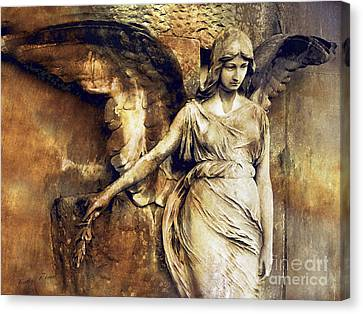 Angel Art - Surreal Gothic Angel Art Photography Dark Sepia Golden Impressionistic Angel Art Canvas Print by Kathy Fornal