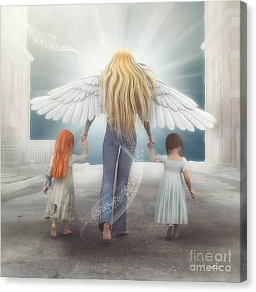 Angel In Blue Jeans Canvas Print by Jutta Maria Pusl