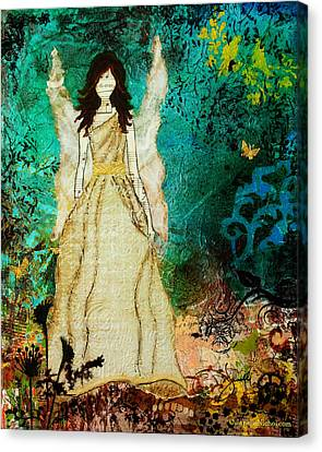 Angel In The Garden Inspirational Abstract Mixed Media Art Canvas Print by Janelle Nichol