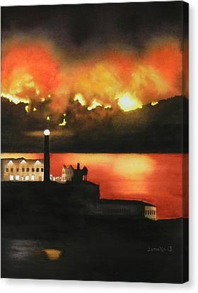 Angel Island Fire Canvas Print by Janaka Ruiz
