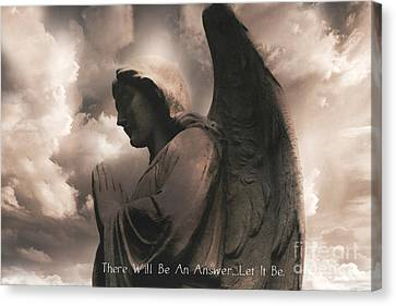 Angel Praying Heavenly Clouds Sepia Angel Art - Inspirational Angel In Prayer  Canvas Print by Kathy Fornal
