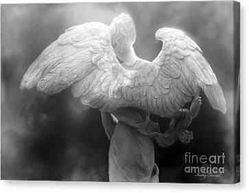 Angel Wings - Dreamy Surreal Angel Wings Black And White Fine Art Photography Canvas Print by Kathy Fornal