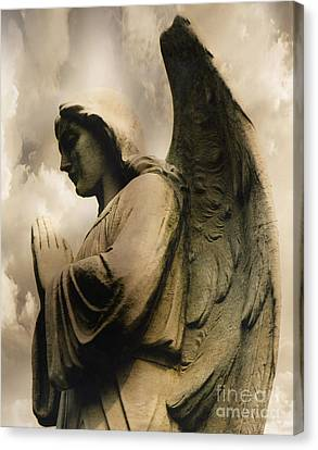 Angel Wings Praying - Spiritual Angel In Clouds Canvas Print by Kathy Fornal