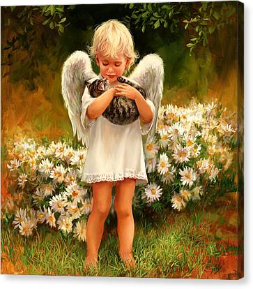Angel With Cat Canvas Print by Laurie Hein