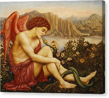Angel With Serpent Canvas Print by Evelyn De Morgan