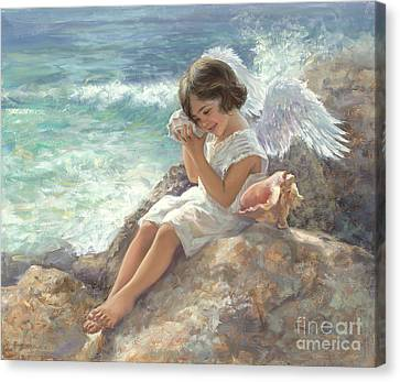 Angel With Shell Canvas Print by Laurie Hein