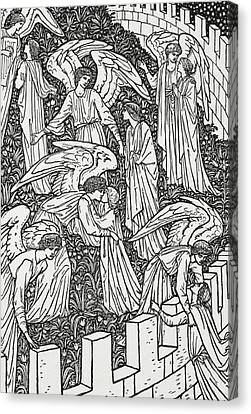 Angels Behind The Inner Sanctuary Canvas Print by William Morris