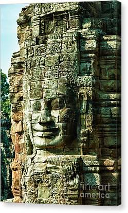 Angkor Bayon Stone Carving Cambodia Canvas Print by Fototrav Print