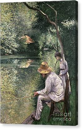 Angling Canvas Print by Gustave Caillebotte