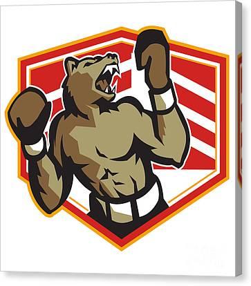 Angry Bear Boxer Boxing Retro Canvas Print by Aloysius Patrimonio