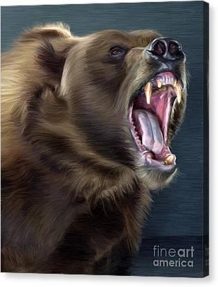 Angry Brown Bear Canvas Print by Aleksey Tugolukov