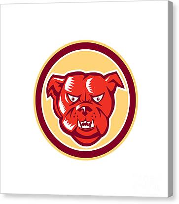 Angry Bulldog Mongrel Head Circle Retro Canvas Print by Aloysius Patrimonio