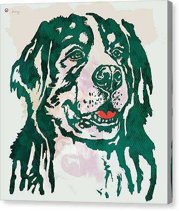 Animal Pop Art Etching Poster - Dog - 1 Canvas Print by Kim Wang