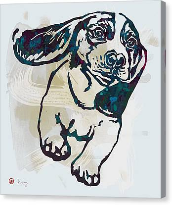 Animal Pop Art Etching Poster - Dog - 10 Canvas Print by Kim Wang