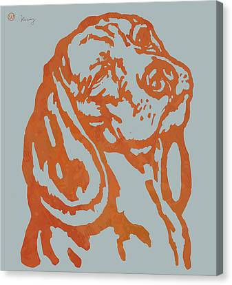 Animal Pop Art Etching Poster - Dog 11 Canvas Print by Kim Wang