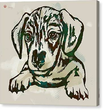 Animal Pop Art Etching Poster - Dog - 4 Canvas Print by Kim Wang