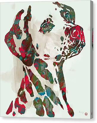 Animal Pop Art Etching Poster - Dog - 5 Canvas Print by Kim Wang