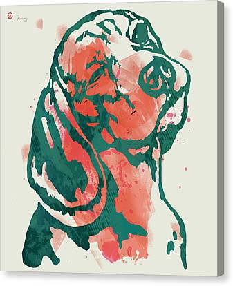 Animal Pop Art Etching Poster - Dog - 7 Canvas Print by Kim Wang