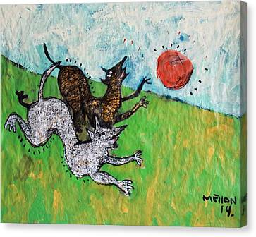 Animalia Dogs Playing In A Field  Canvas Print by Mark M  Mellon
