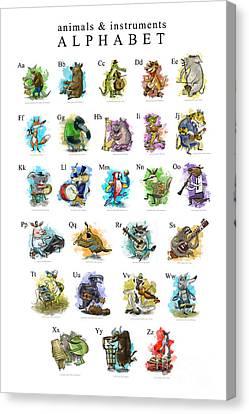 Animals And Instruments Alphabet Canvas Print by Sean Hagan