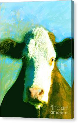 Animals Cows Sun And Shadow Painting By Ann Powell Canvas Print by Ann Powell