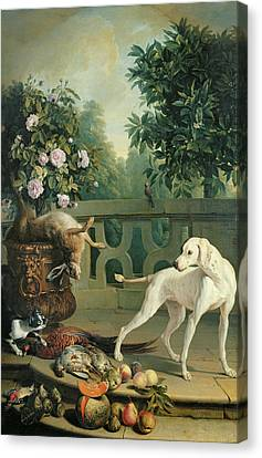 Animals, Flowers And Fruits Oil On Canvas Canvas Print by Alexandre-Francois Desportes
