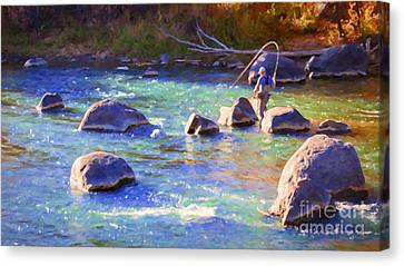 Animas River Fly Fishing Canvas Print by Janice Rae Pariza