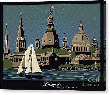 Annapolis Steeples And Cupolas Serenity With Border Canvas Print by Joe Barsin