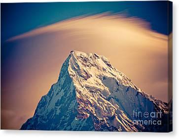 Annapurna South At Sunrise In Himalayas Artmif Photo Raimond Klavins Canvas Print by Raimond Klavins