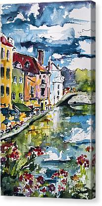 Annecy Canal And Swans France Watercolor Canvas Print by Ginette Callaway