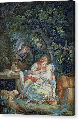 Annette And Lubin  Canvas Print by Pierre Antoine Baudouin