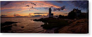Annisquam Light Sunset Silhouette Canvas Print by Scott Lynde