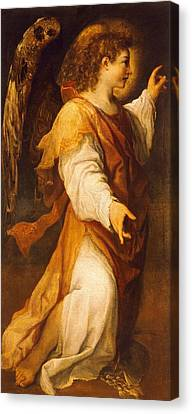 Announcing Angel Canvas Print by Annibale Carracci