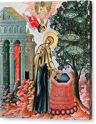 Annunciation At The Fountain Canvas Print by Russian School
