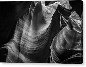 Antelope Canyon Waves Black And White Canvas Print by Adam Romanowicz