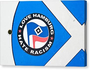 Anti-racism Sticker Canvas Print by Tom Gowanlock